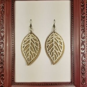 💎Handmade Leather Gold and Bronze Leaf Earrings